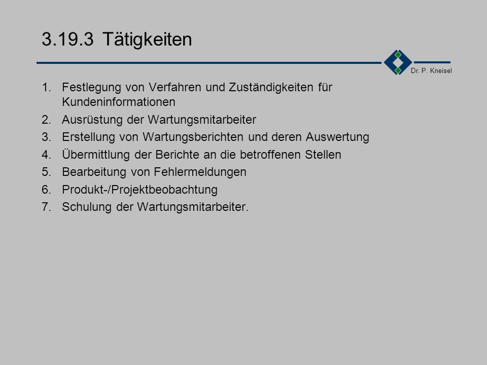 Dr. P. Kneisel 3.19.2Anforderungen der Norm Festlegung der Verfahren und Zuständigkeiten für: Planung Durchführung Nachbearbeitung von Installations,