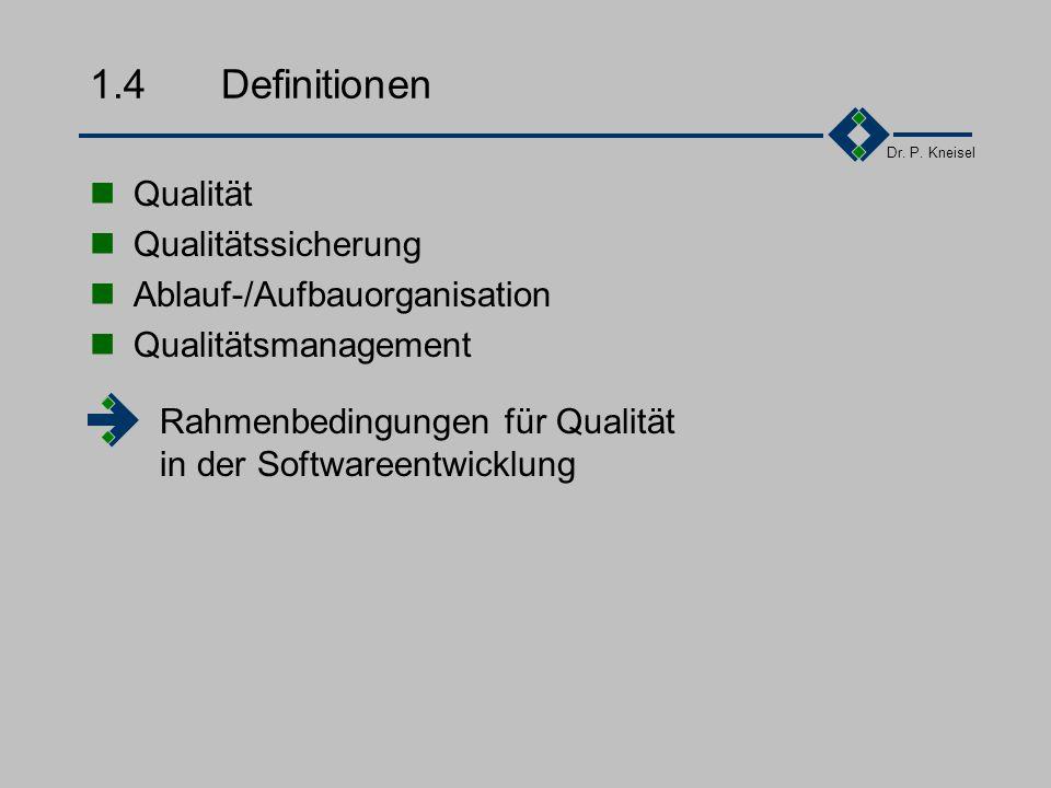 Dr. P. Kneisel 1.3.2Dynamische Einflüsse auf Qualität Marktveränderungen Globalisierung Produktvielfalt Kundenanforderunge Werteveränderungen Gesellsc