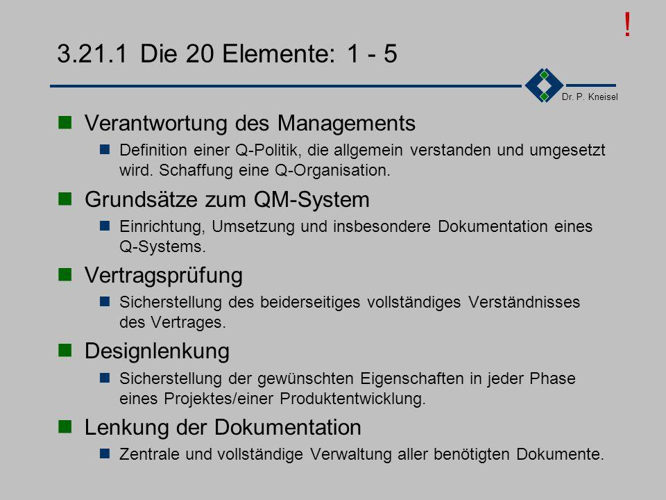 Dr. P. Kneisel 3.21Zusammenfassung des Kapitels Die 20 Elemente: 1-5 Die 20 Elemente: 6-10 Die 20 Elemente: 11-15 Die 20 Elemente: 16-20