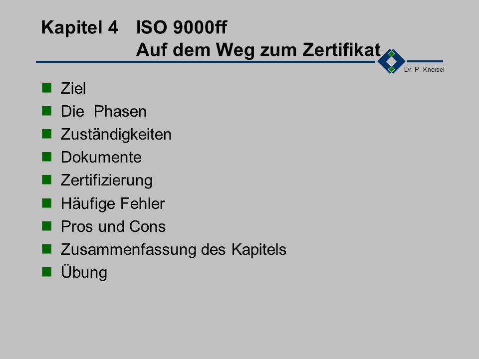 Dr. P. Kneisel Übung Verschaffen Sie sich einen Überblick über die 20 Elemente der DIN EN ISO 9001 Erstellen sie Folien: Anwendung und Abbildung der E