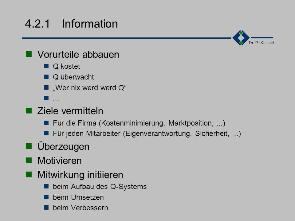 Dr. P. Kneisel 4.2Die Phasen 4.2.1Informationsphase 4.2.2Definitionsphase 4.2.3IST-Aufnahme 4.2.4Konzepterstellung 4.2.5Durchführung !