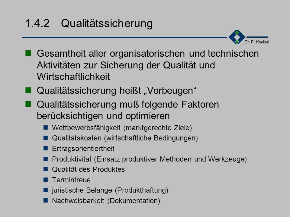 Dr. P. Kneisel 1.4.1 Qualität Die Gesamtheit von Merkmalen einer Einheit bezüglich ihrer Eignung, festgelegte und vorausgesetzte Erfordernisse zu erfü