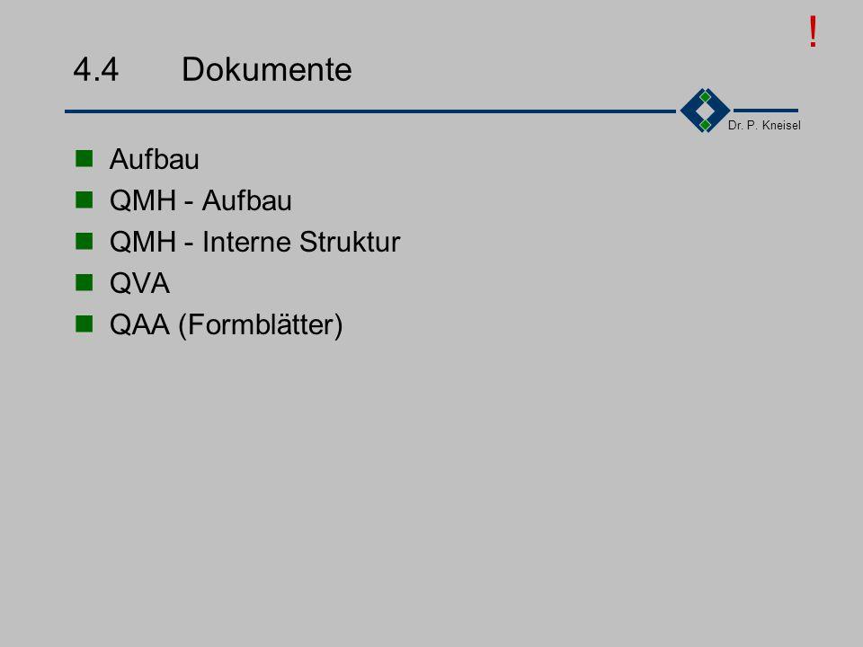 Dr. P. Kneisel 4.3.2Mitarbeiter beim Aufbau des Q-Systems Mitwirkung bei der Bestandsaufnahme Abgleich Soll gegen Ist Prozesse und Verfahren einführen