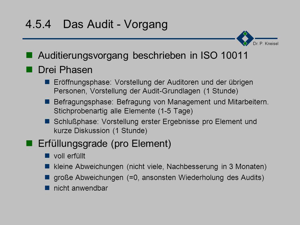Dr. P. Kneisel 4.5.3Phasen Voraussetzungen prüfen Zertifizierende Bereiche festlegen Vorbeurteilung durch Fragekatalog Optional: Voraudit durch Zert.-