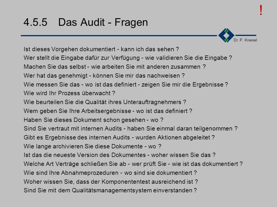 Dr. P. Kneisel 4.5.4Das Audit - Vorgang Auditierungsvorgang beschrieben in ISO 10011 Drei Phasen Eröffnungsphase: Vorstellung der Auditoren und der üb