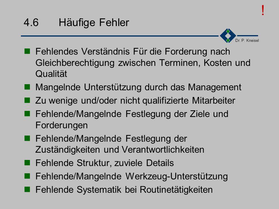 Dr. P. Kneisel 4.5.6Was kommt danach Qualitätsmanagementsystem leben Gültigkeitsdauer des Zertifikats: 3 Jahre jährliche Überwachungsaudits alle 3 Jah