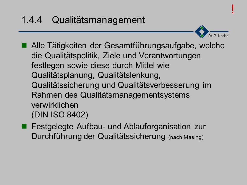 Dr. P. Kneisel 1.4.3Ablauf-/Aufbauorganisation Ablauforganisation Zeitliche und räumliche Anordnung von Handlungsvorgängen (nach Wöhe) Geschäftsführer
