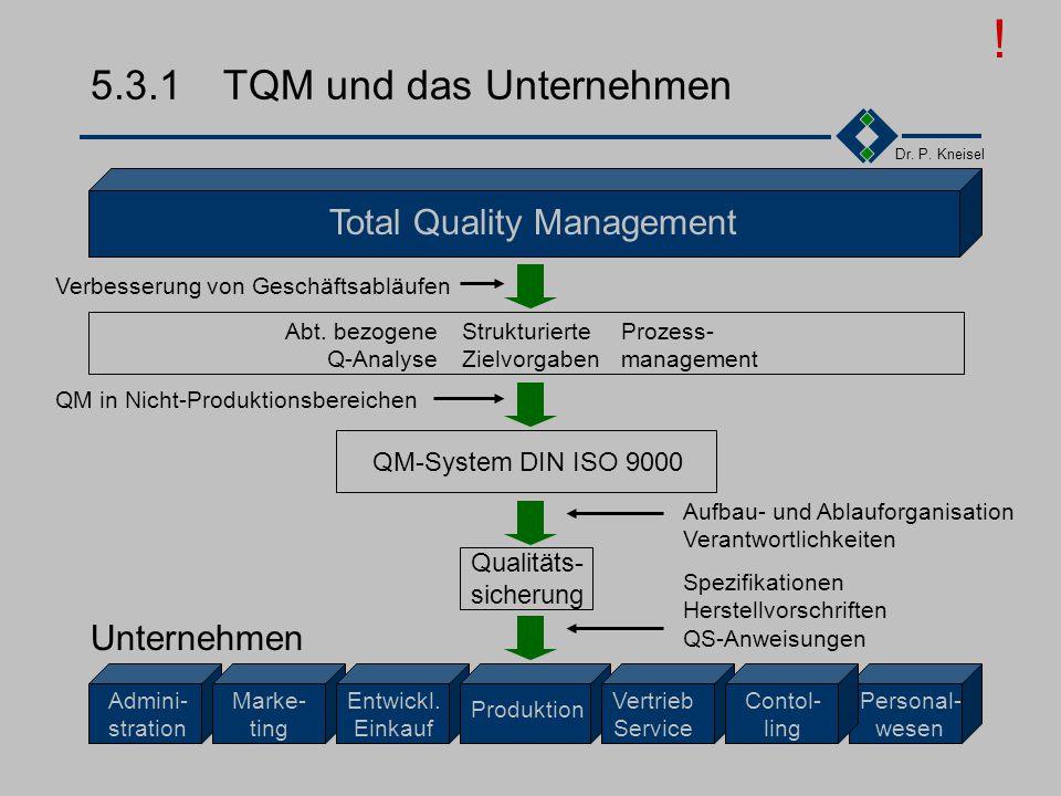 Dr. P. Kneisel 5.3Einordnung TQM und das Unternehmen Vergleich ISO9000 / TQM Qualitätsentwicklung