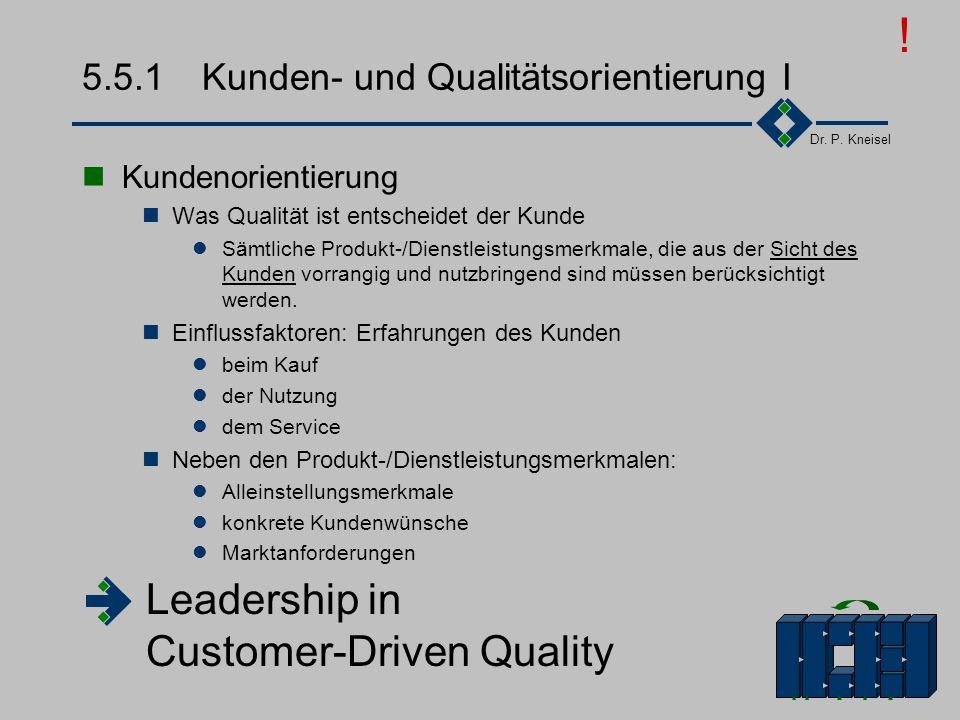 Dr. P. Kneisel 5.5Die Elemente eines TQM-Systems Führung - Kunden- orientiert, - qualitäts- orientiert Qualitäts- - Politik - Strategie - Ziele Res- s
