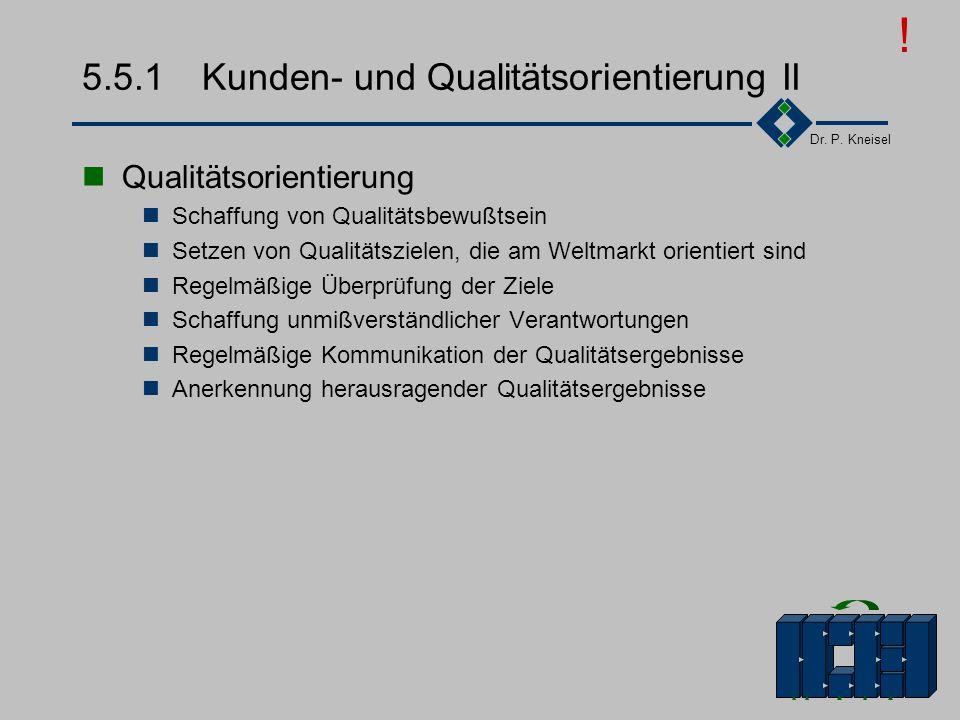 Dr. P. Kneisel 5.5.1Kunden- und Qualitätsorientierung I Kundenorientierung Was Qualität ist entscheidet der Kunde Sämtliche Produkt-/Dienstleistungsme