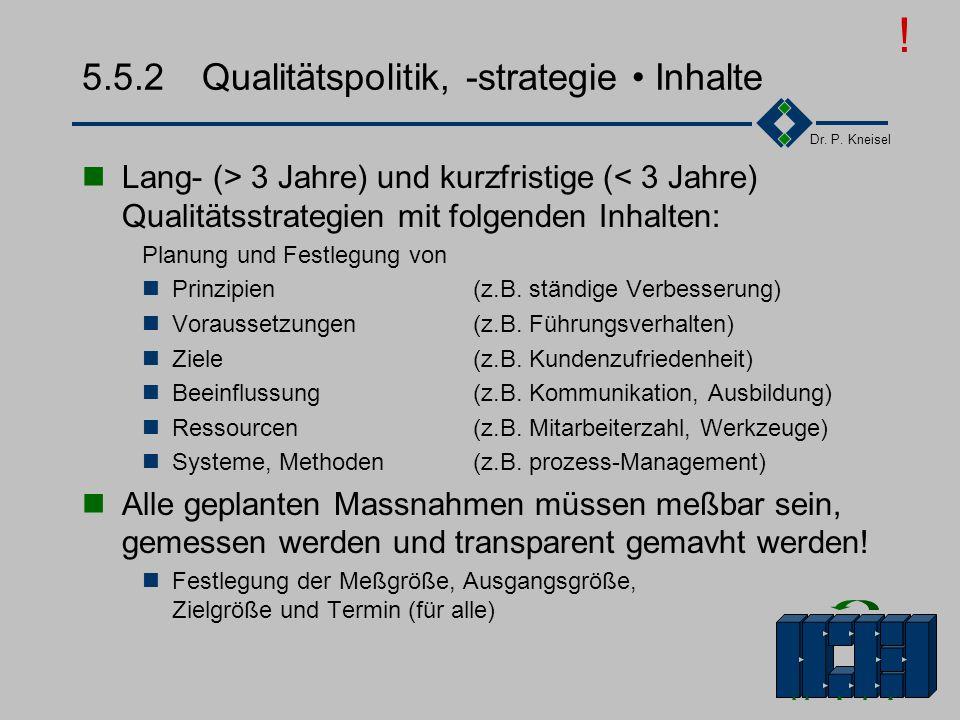 Dr. P. Kneisel 5.5.1Kunden- und Qualitätsorientierung III Verantwortlichkeiten und Organisationsstrukturen Flache Hierarchien, die Kommunikation und d