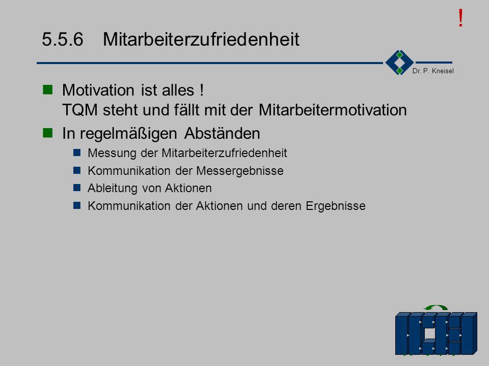 Dr. P. Kneisel 5.5.5Geschäftsprozesse Geschäftsprozesse analysieren verbessern Führung - Kunden- orientiert, - qualitäts- orientiert Qualitäts- - Poli