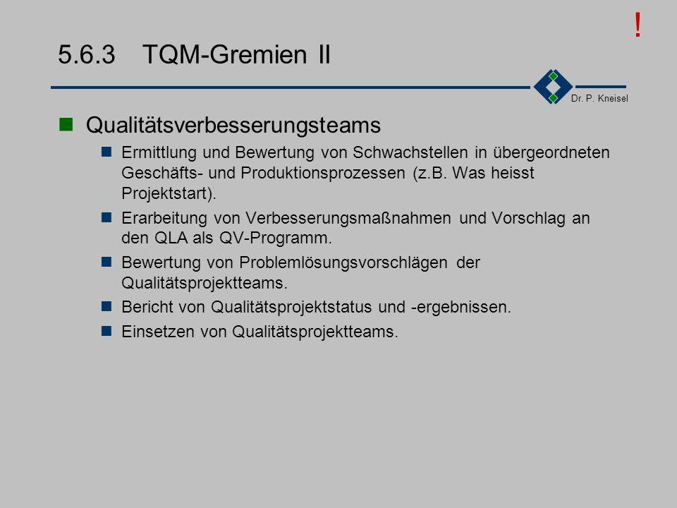 Dr. P. Kneisel 5.6.2 TQM-Gremien I Qualitätslenkungsausschuß Bestimmung der Qualitätspolitik und -ziele des Bereiches. Festlegung der Prioritäten von