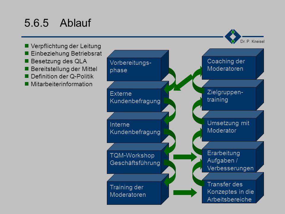 Dr. P. Kneisel 5.6.4 TQM-Gremien III Qualitätsprojektteams Erarbeitung von Problemlösungen Durchführung von Problemlösungsmaßnahmen Bericht der Ergebn