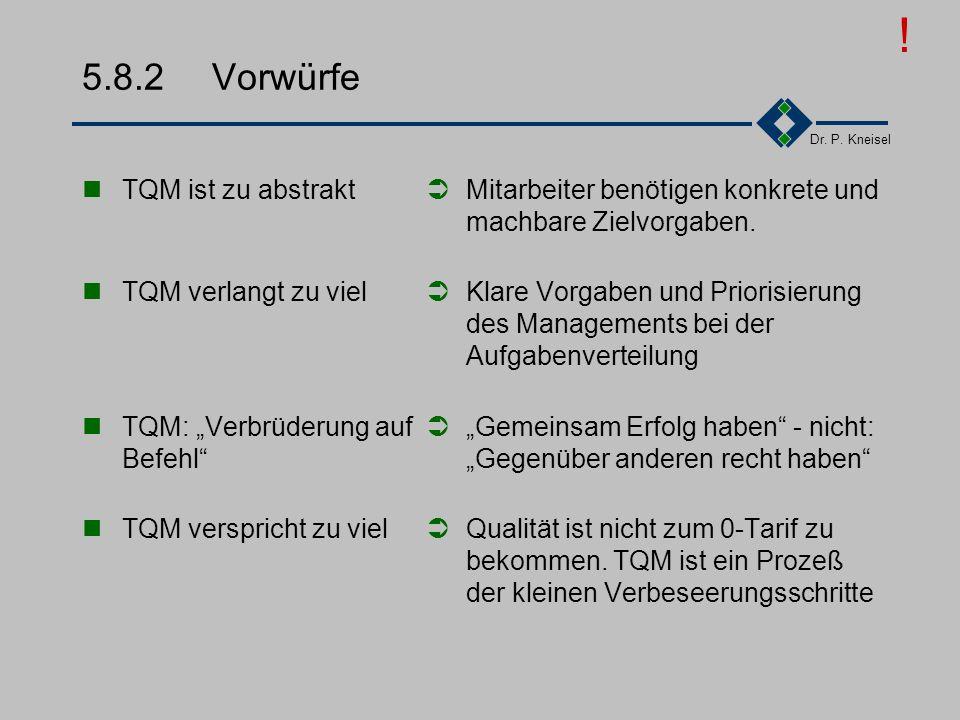 Dr. P. Kneisel 5.8.1 Probleme TQM ist kein Programm. Bei Erfolg wird TQM zur Lebensweise. Es bildet die Kultur des Unternehmens ab. Die meisten haben