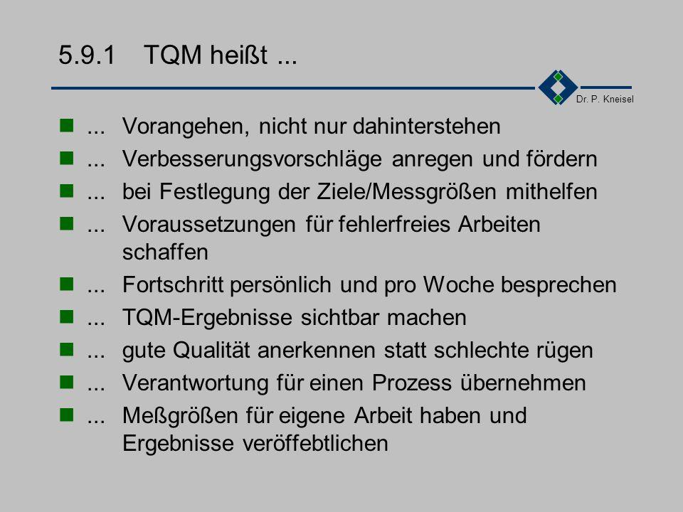 Dr. P. Kneisel 5.9.1TQM heißt......für die Qualität der eigenen Arbeit verantwortlich sein...Kundenanforderungen präzise ermitteln...verbindliche Absp