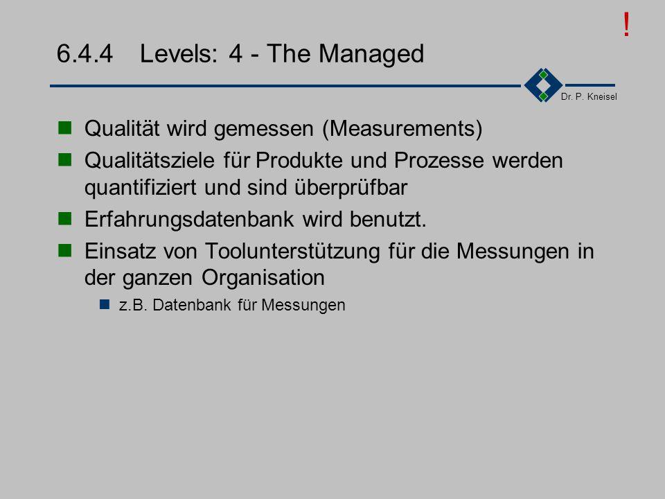 Dr. P. Kneisel 6.4.3Levels: 3 - The Defined Festlegen von Standardprozessen Zusammenfassung von in Level 2 häufig verwendeten und bewährten Verfahren.