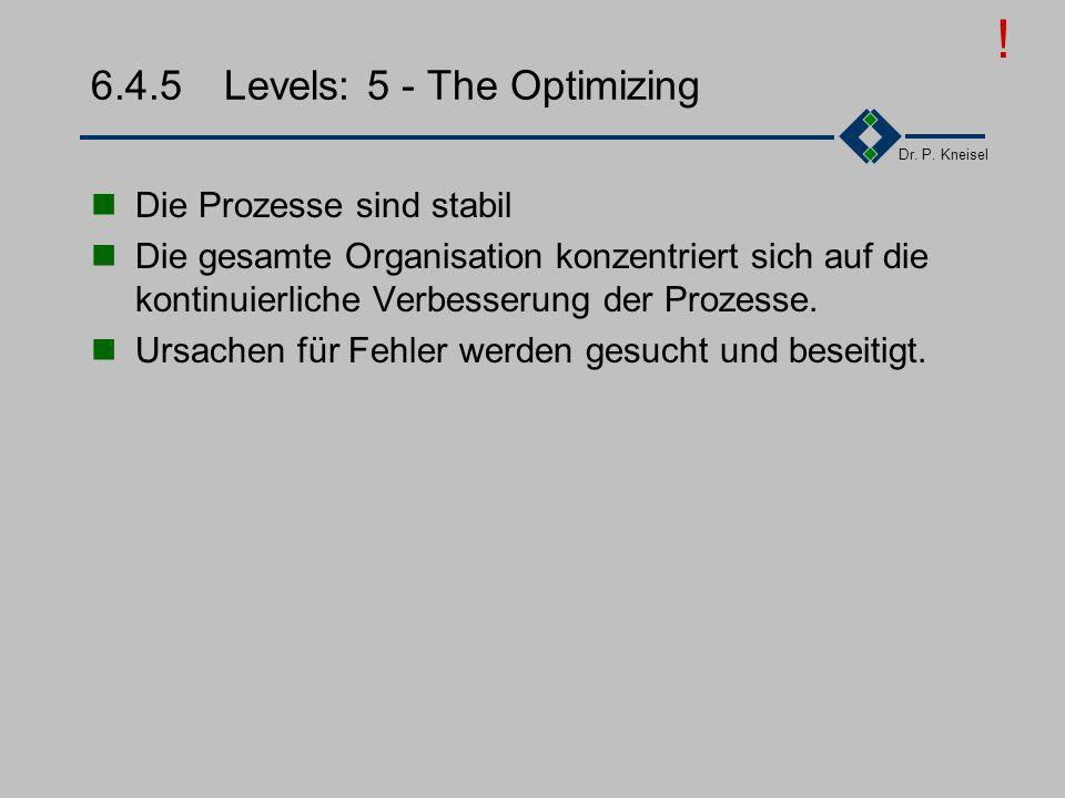 Dr. P. Kneisel 6.4.4Levels: 4 - The Managed Qualität wird gemessen (Measurements) Qualitätsziele für Produkte und Prozesse werden quantifiziert und si