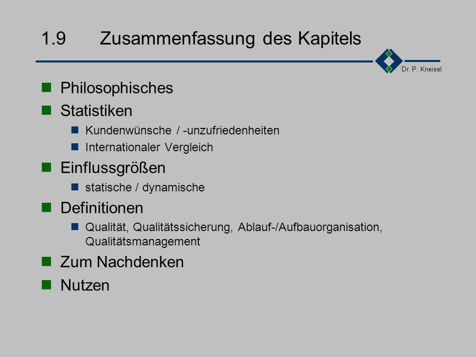 Dr. P. Kneisel 1.8Gruppenarbeit Was bedeutet für Sie als Student Qualität Was denken Sie Was sind die Erwartungen ihrer
