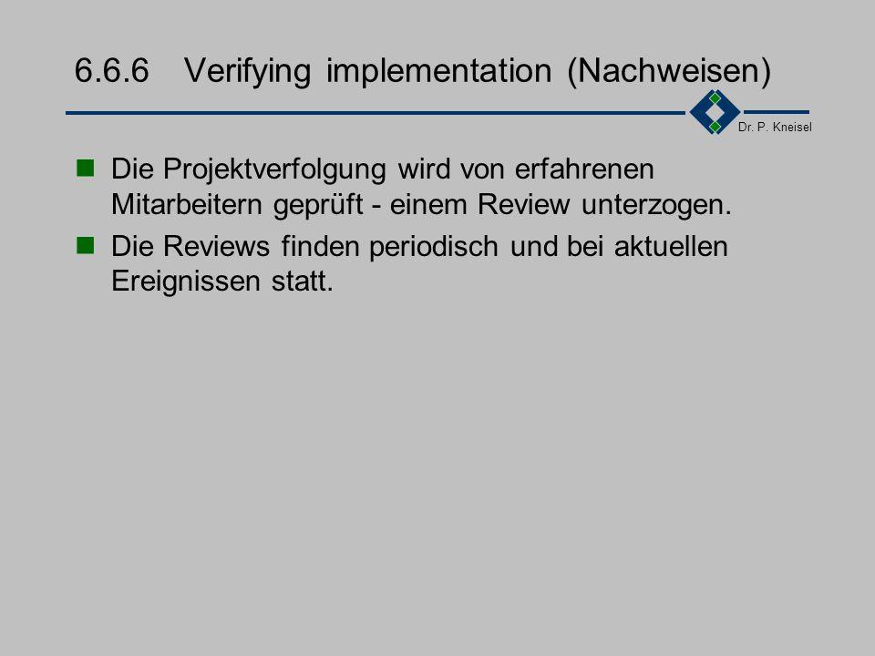 Dr. P. Kneisel 6.6.5Measurement and analysis (Messen) Messungen werden gemacht, um den Stand des Projektes zu ermitteln. Neue Aufwendungen werden in d