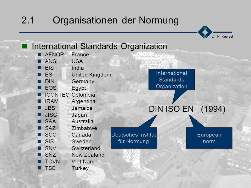 Dr. P. Kneisel Kapitel 2ISO 9000 ff Ein Überblick Organisationen der Normung ISO 9000er-Serie Zusammenfassung des Kapitels Übung
