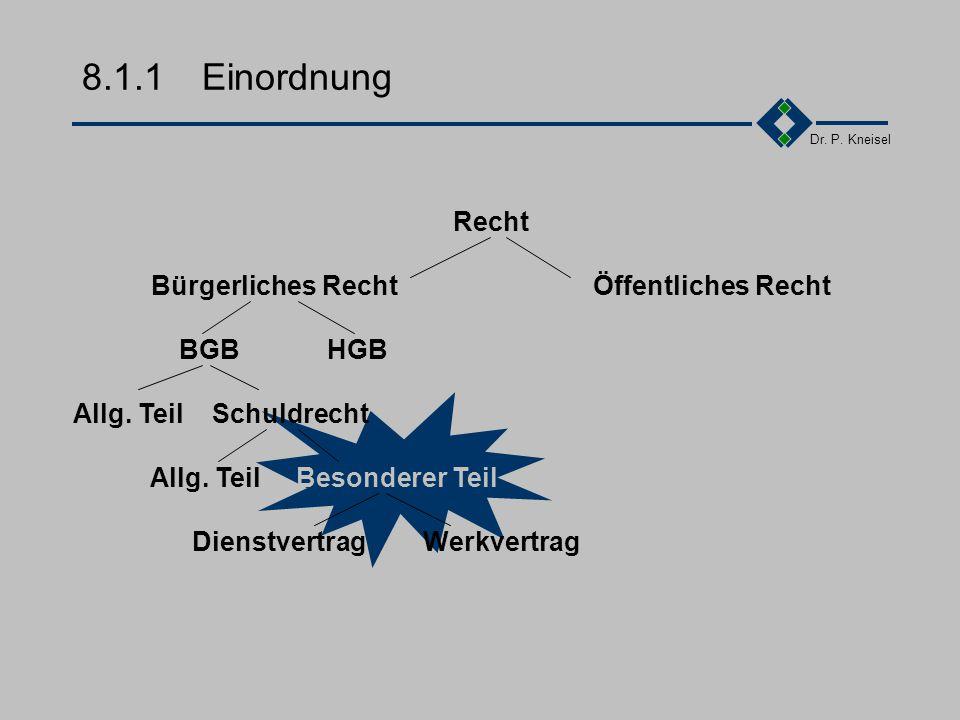 Dr. P. Kneisel 8.1Vertragsprüfung (Element 3) Einordnung Das Zivilrecht Unbestimmte Rechtsbegriffe Wozu Freiheit und Schranken Probleme im Streitfall