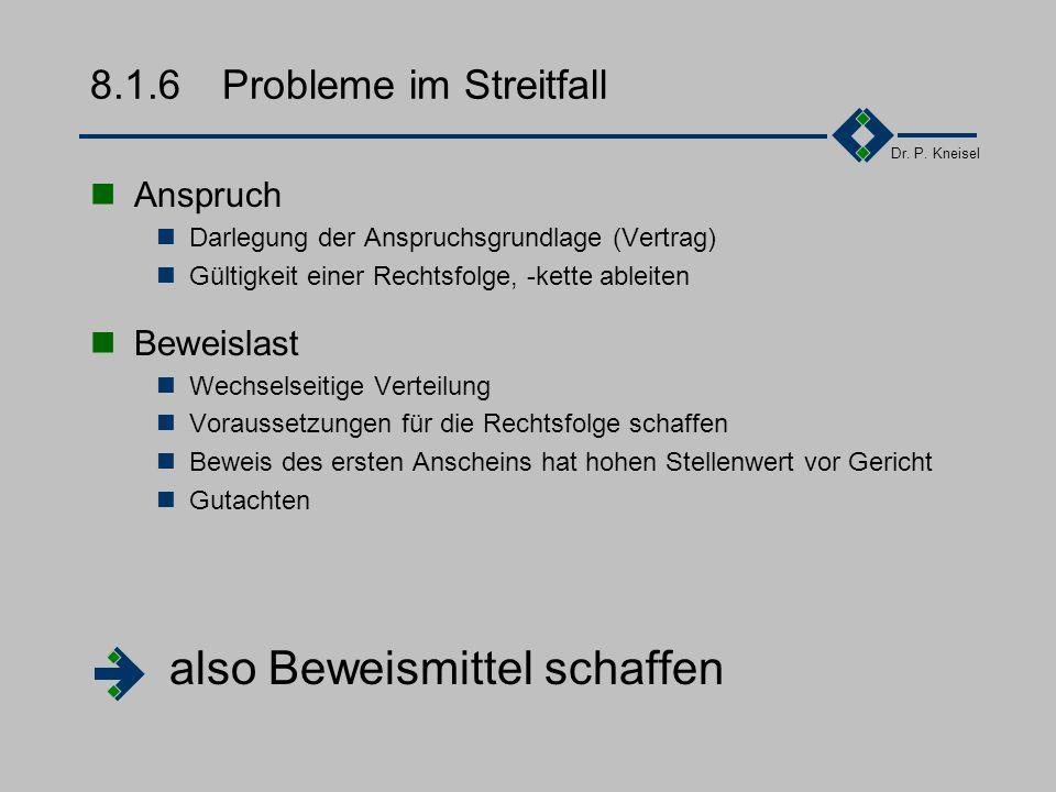 Dr. P. Kneisel 8.1.5Freiheit und Schranken Vertragsfreiheit Verträge abschließen andere Vertragstypen wählen (z.B. Überlassung von SW, AÜG) Abweichung