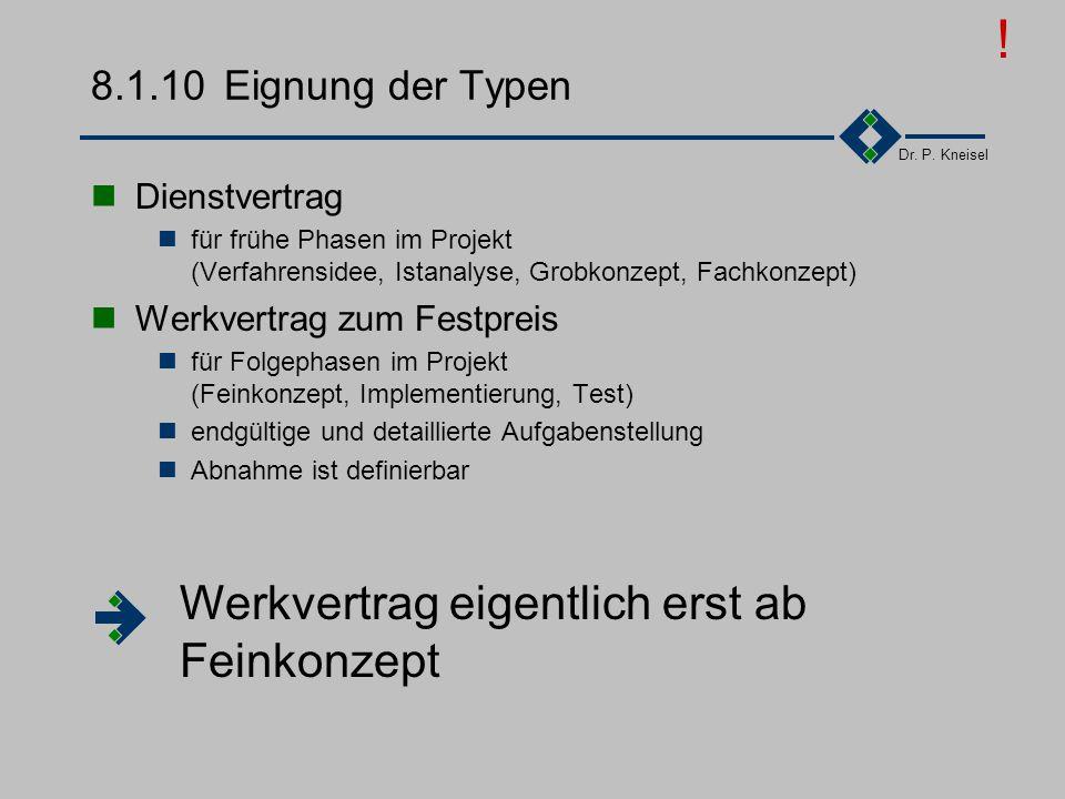 Dr. P. Kneisel 8.1.10Zusammenfassung der Typen Arbeitnehmer-DienstvertragWerkvertrag überlassung WegAN stelltAN unterstützt.AN erstellt... Personal Le