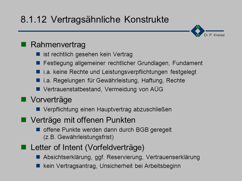 Dr. P. Kneisel 8.1.11Anwendungen, Begriffe Beraterverträge Erstellung von Konzepten und Spezifikationen Softwareentwicklung bei AG durch eigene MA (So
