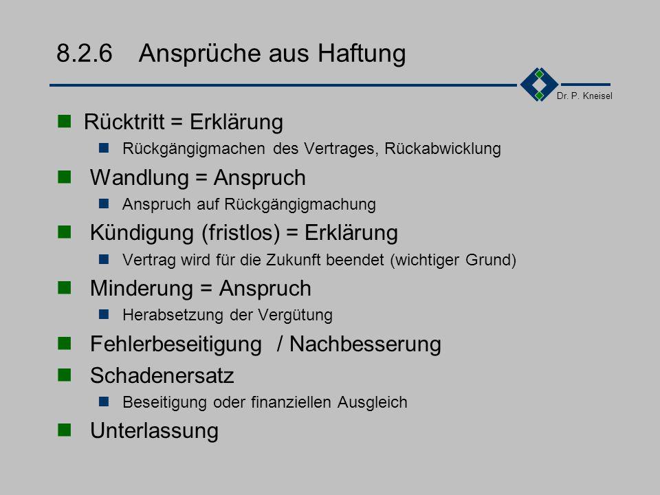 Dr. P. Kneisel 8.2.5Produkt-/Produzentenhaftung Produzentenhaftung Jedermann muß sich so verhalten, daß er nicht die Ursache für die Beinträchtigungde