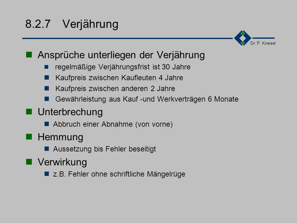 Dr. P. Kneisel 8.2.6Ansprüche aus Haftung Rücktritt = Erklärung Rückgängigmachen des Vertrages, Rückabwicklung Wandlung = Anspruch Anspruch auf Rückgä