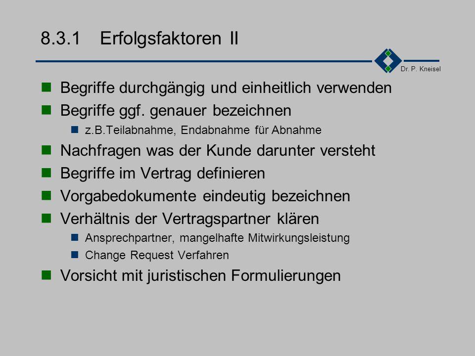 Dr. P. Kneisel 8.3.1Erfolgsfaktoren I Attraktivität durch verständliche und ansprechende Formulierungen die Begriffswelt des Kunden erforschen profess