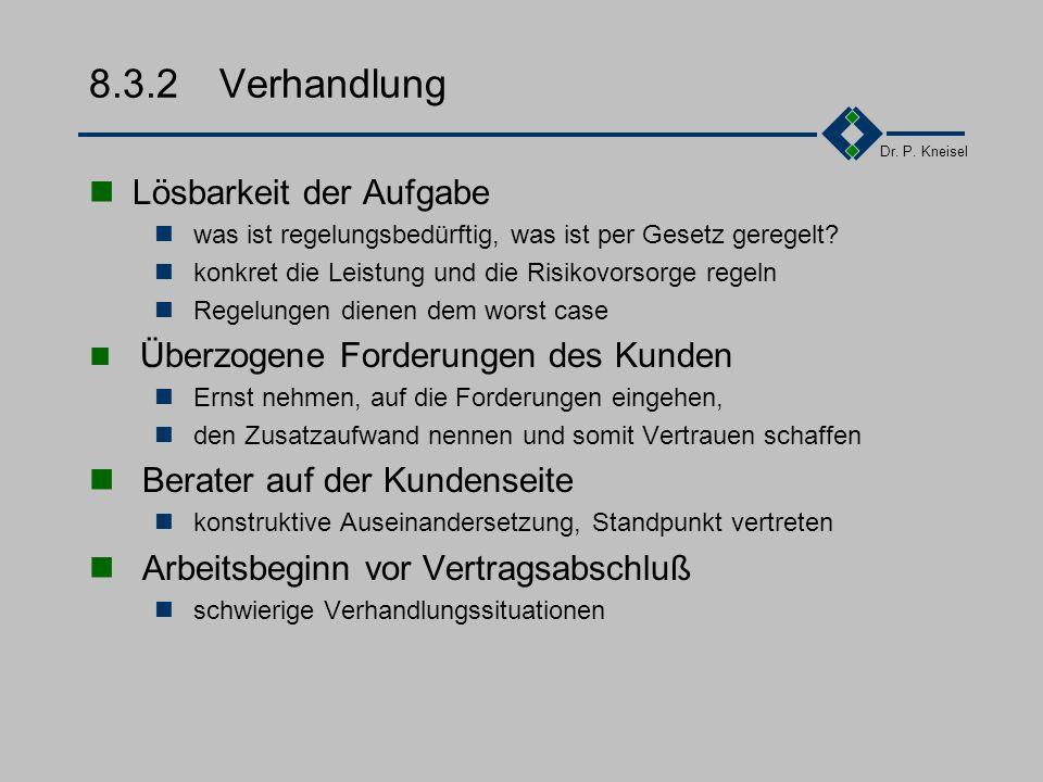 Dr. P. Kneisel 8.3.1Erfolgsfaktoren II Begriffe durchgängig und einheitlich verwenden Begriffe ggf. genauer bezeichnen z.B.Teilabnahme, Endabnahme für