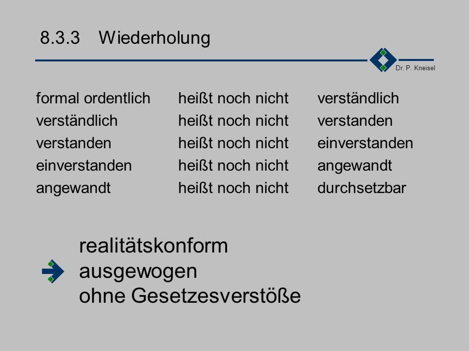 Dr. P. Kneisel 8.3.2Verhandlung Lösbarkeit der Aufgabe was ist regelungsbedürftig, was ist per Gesetz geregelt? konkret die Leistung und die Risikovor