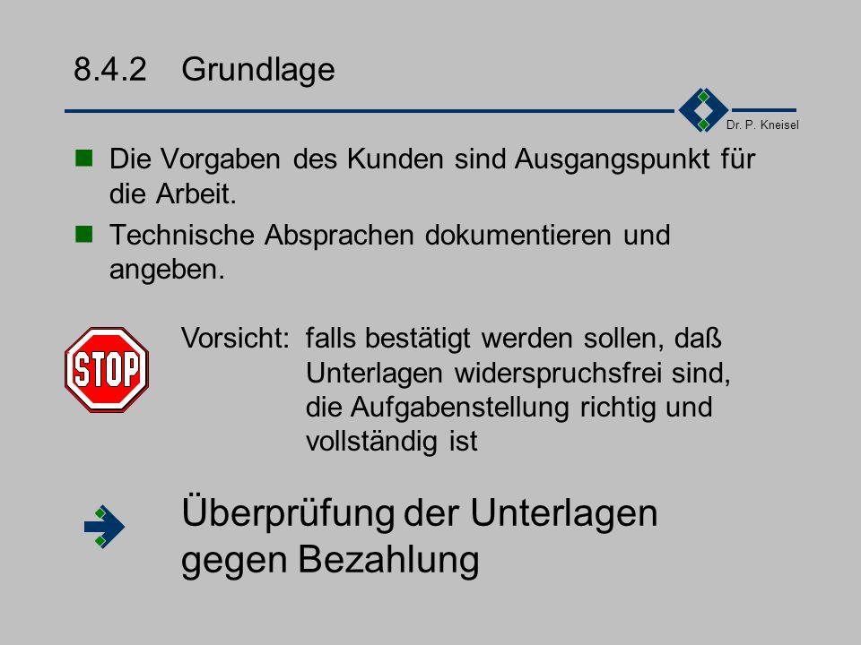 Dr. P. Kneisel 8.4.1Gegenstand Welche Leistung wird angeboten? ggf. Bereitschaft zu Nachtragsangeboten z.B. folgende Funktionen konnten nicht endgülti