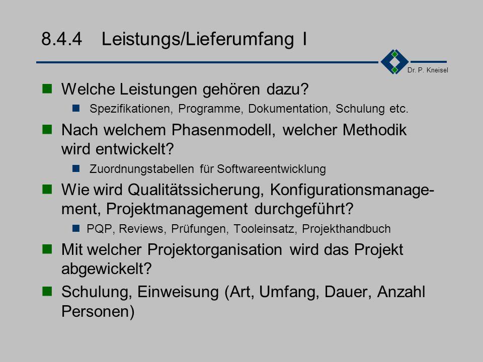 Dr. P. Kneisel 8.4.3Lösungsansatz Kompetenz zeigen, Interesse beim Kunden wecken Welchen Lösungsansatz wird dabei verfolgt Vorgeschlagene Konzeption K