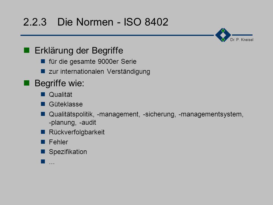 Dr. P. Kneisel 2.2.2 Die Normen - Allgemeine Einteilung Begriffe Leitfaden für Audits Forderungen an Messmittel Leitfaden für QM-Handbücher Wirtschaft