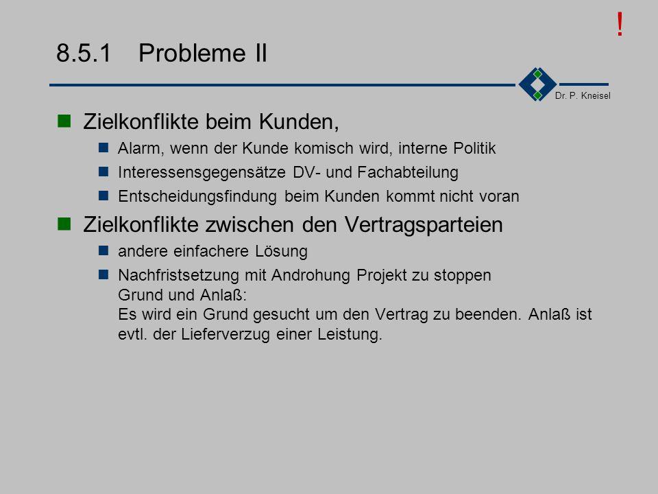 Dr. P. Kneisel 8.5.1Probleme I menschliche Schwächen Verbrüderung, Optimismus, Überschätzung fehlender Mut Negatives zu sagen Durchführung von Änderun