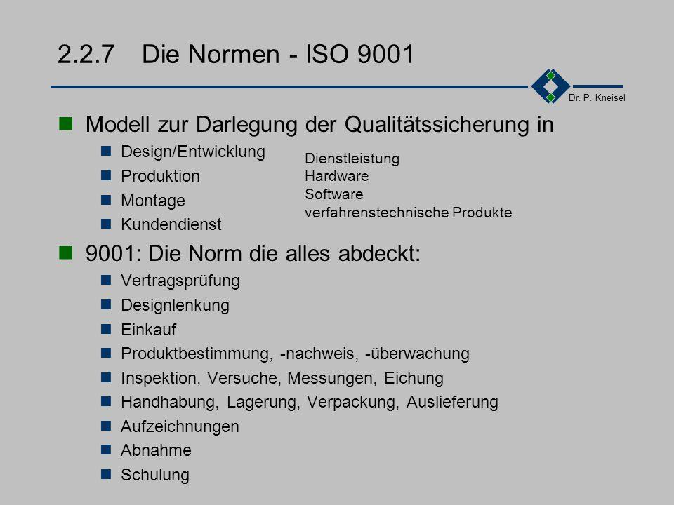 Dr. P. Kneisel 2.2.6 Die Normen - ISO 9004 Teil 1 Konkretisierung der DIN EN ISO 9000 Teil 2 Beschreibung des Anwendungsbereiches Marketung  Entwickl