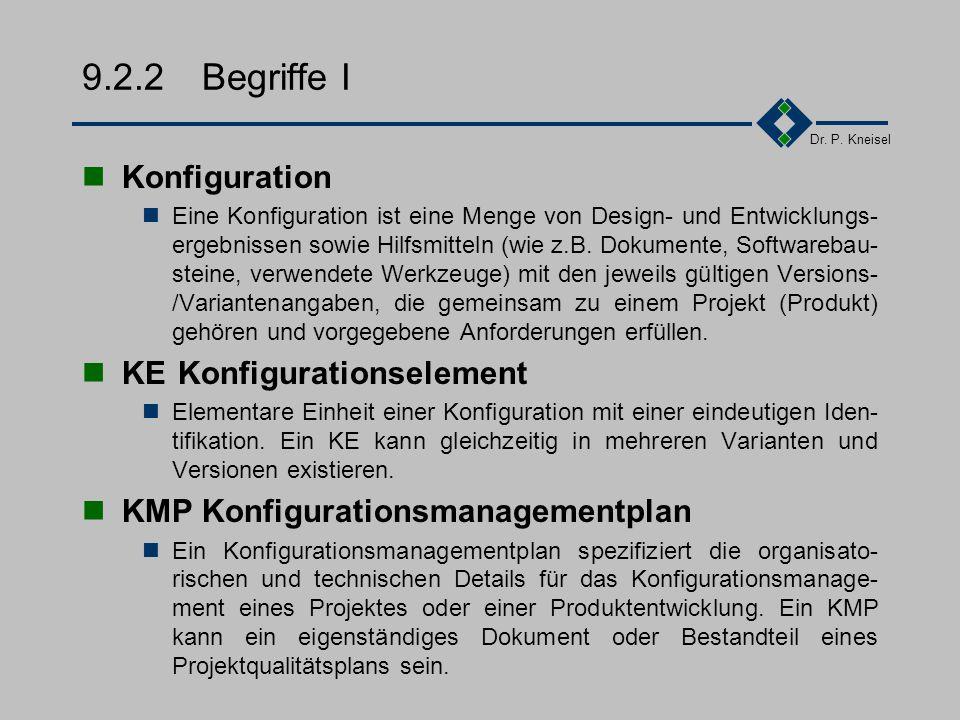 Dr. P. Kneisel 9.2.1Übersicht Konsistenz zwischen den Komponenten Jede Konfiguration muß in sich stimmig sein und mit den zugehörigen Dokumenten übere