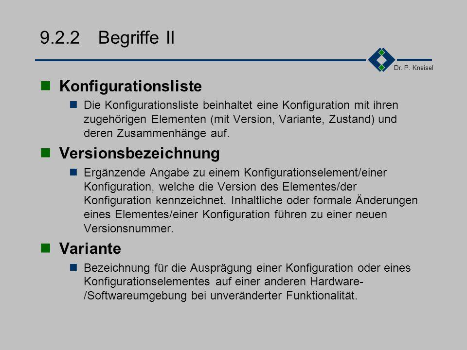 Dr. P. Kneisel 9.2.2Begriffe I Konfiguration Eine Konfiguration ist eine Menge von Design- und Entwicklungs- ergebnissen sowie Hilfsmitteln (wie z.B.