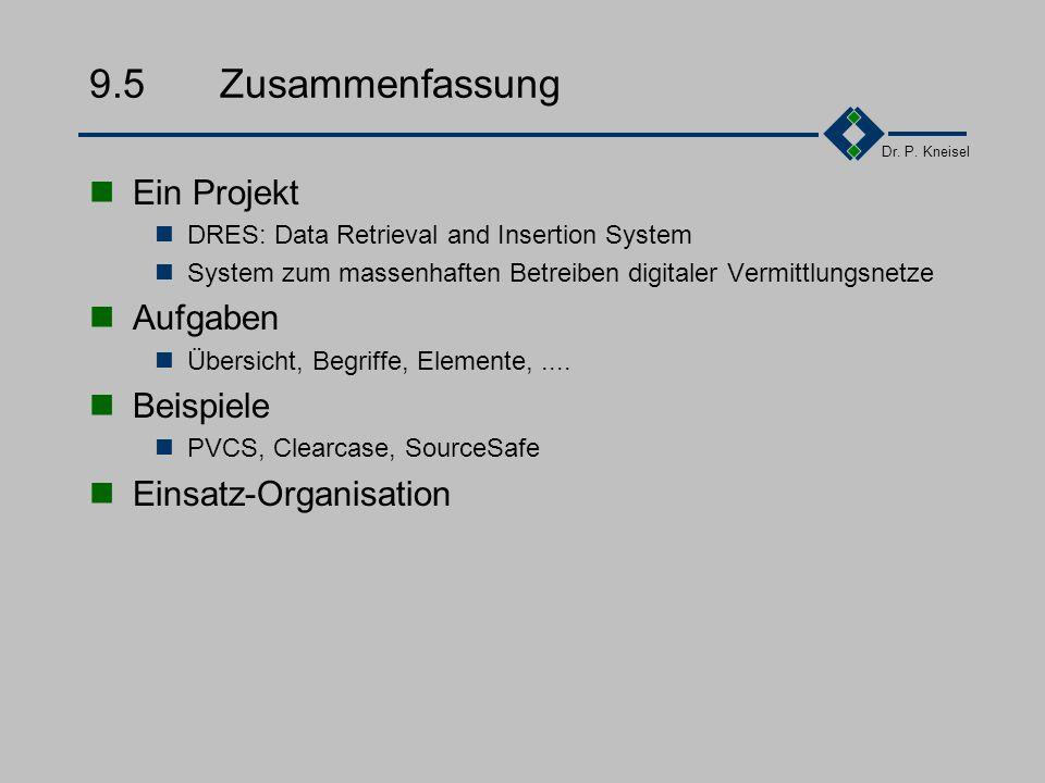 Dr. P. Kneisel 9.4Einsatz-Organisation Erstellen Konfigurationsmanagementplan Aufgabe des Projektleiters zusammen mit dem Qualitätsweses Einrichten Ko