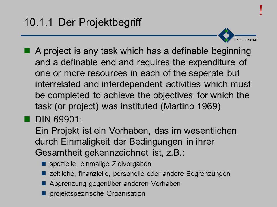 Dr. P. Kneisel 10.1Das Projekt Der Projektbegriff Die Projektphasen Projektplanung Hauptphase der Projektplanung Projektplanungsinstrumente Projektorg