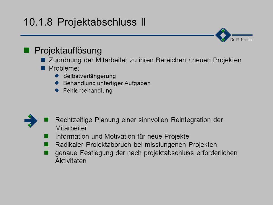 Dr. P. Kneisel 10.1.8Projektabschluss I Ergebnisabnahme durch den Auftraggeber Ergebnisumsetzung Klärung der Einführungsmethode Vorbereitende Maßnahme