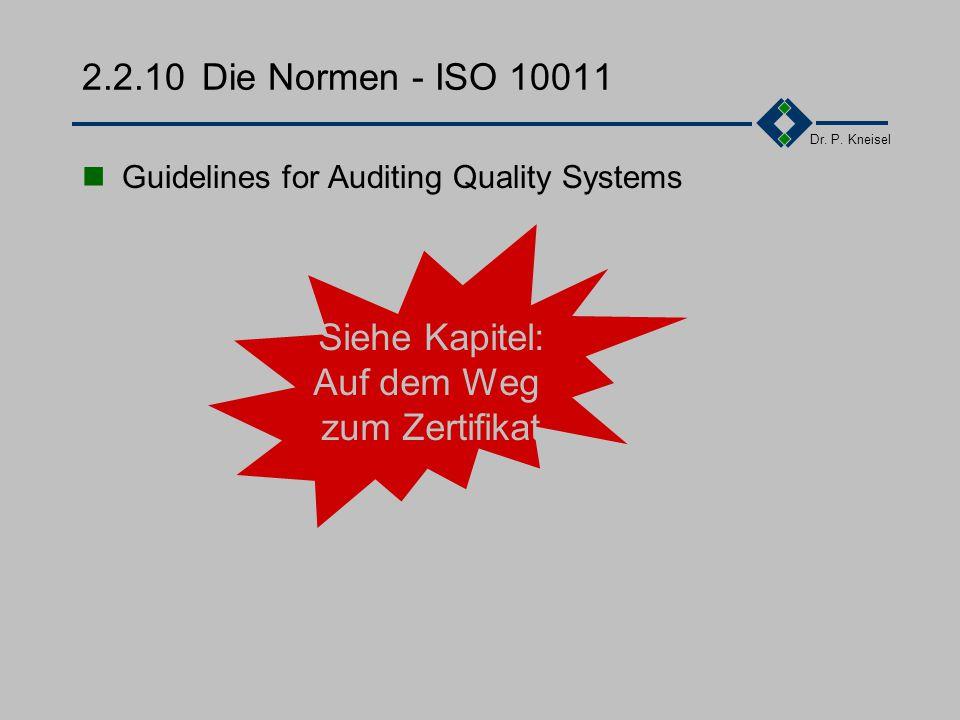 Dr. P. Kneisel 2.2.9Die Normen - ISO 9004 Teil 2 Modell zur Darlegung der Qualitätssicherung bei der Dienstleistungen