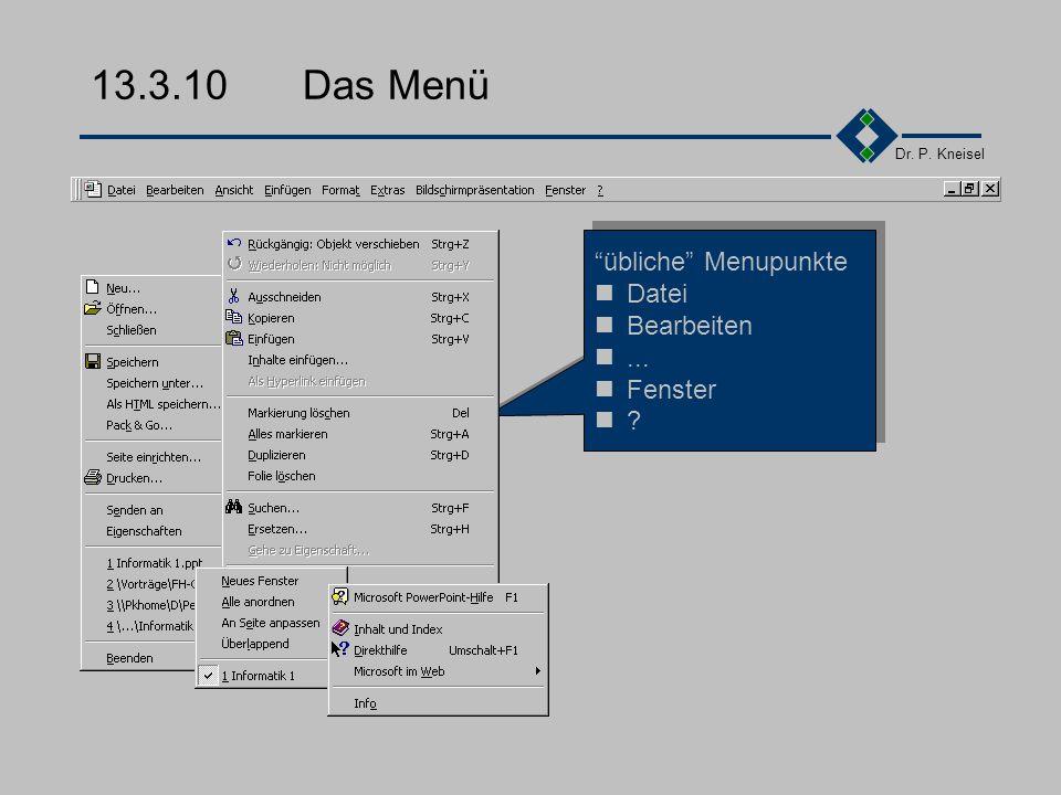 Dr. P. Kneisel 13.3.9Fensterlayout Menu Lineal Symbolleiste Bearbeitungsfenster Unterfenster