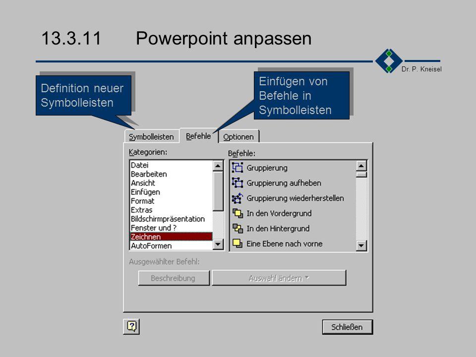 Dr.P. Kneisel 13.3.10Das Menü übliche Menupunkte Datei Bearbeiten...