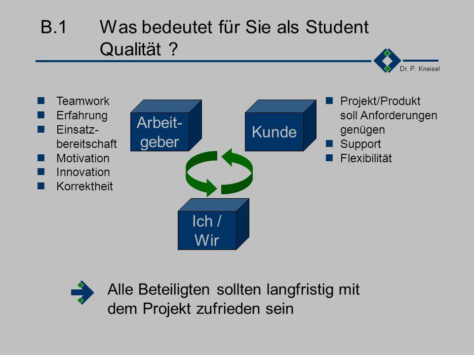 Dr.P. Kneisel Anhang BQualität Was bedeutet für Sie als Student Qualität .