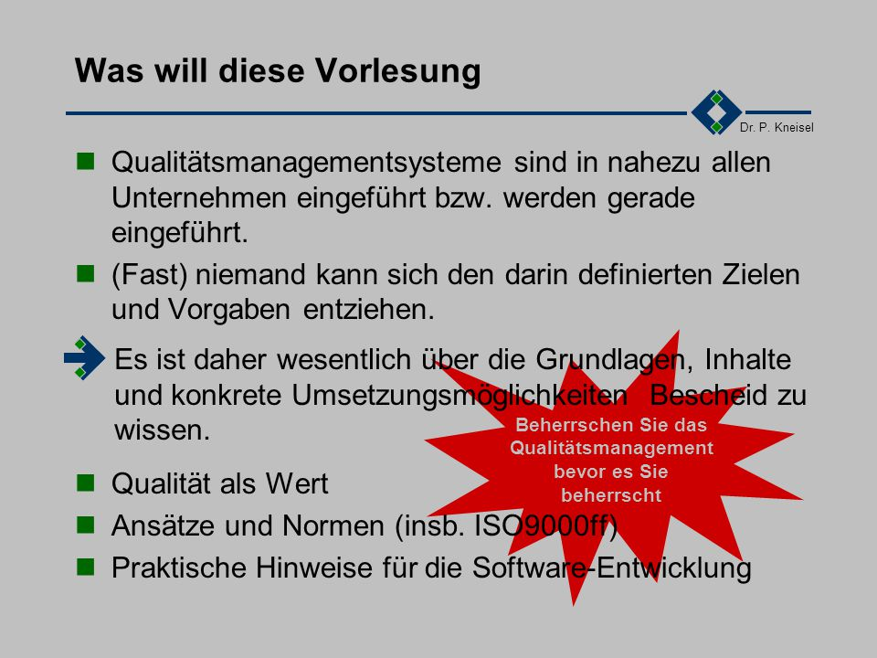 Dr.P. Kneisel DIN ISO 9001DIN ISO 9000 Teil 3 2.3.69000/3 vs.