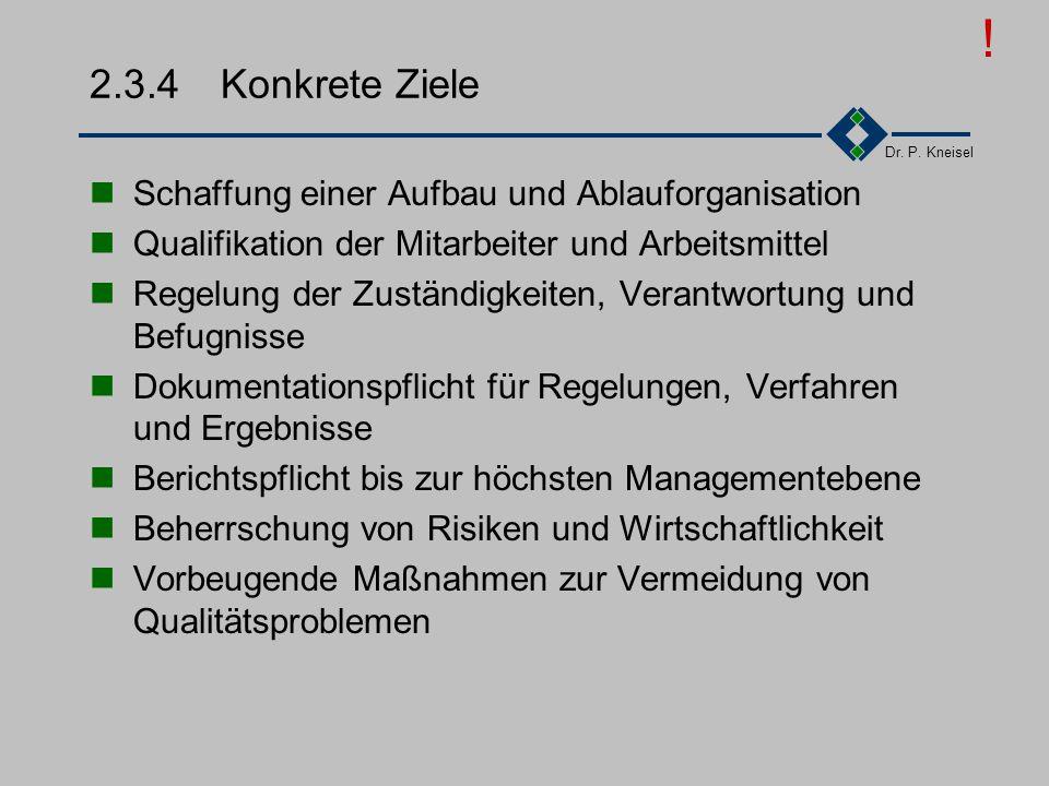 Dr. P. Kneisel 2.3.3Charakteristik der ISO9000ff Definierte Qualitätsziele Klare erreichbare Ziele explizit formulieren und verteilen Übereinstimmung,